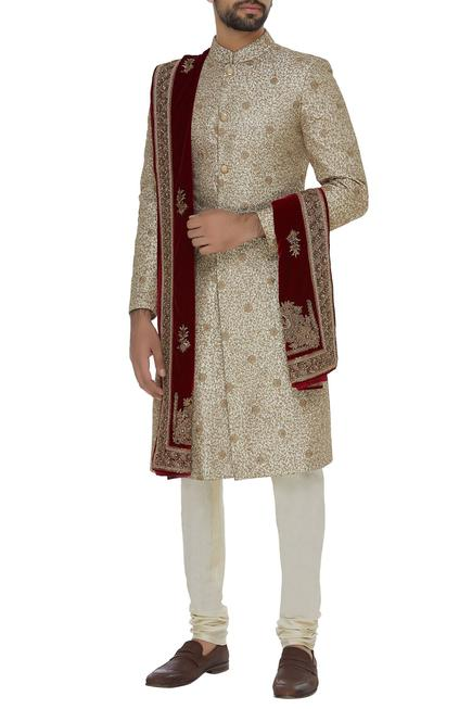 Silk sherwani set with velvet stole