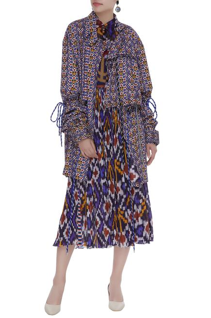 Printed shirt & jacket with hand pleated skirt set