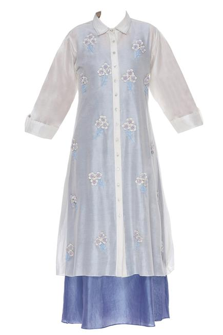 Layered tunic with 3D floral embroidery