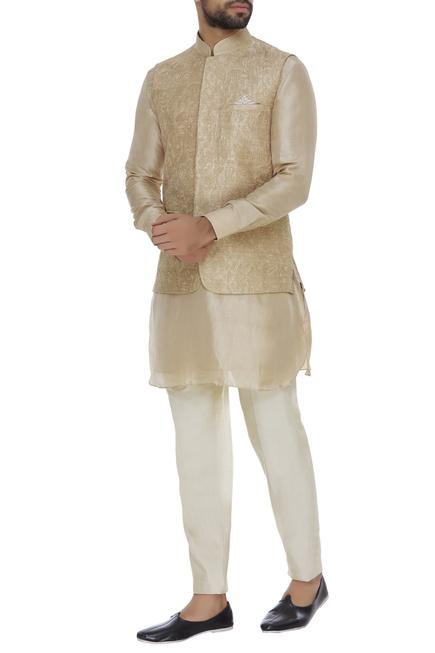 Raw silk floral cord embroidered nehru jacket