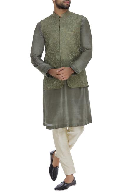 Raw silk cord embroidered nehru jacket