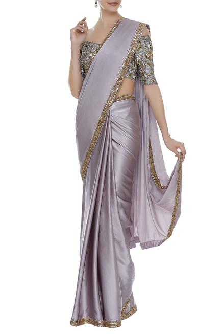 Sequin embroidered border saree with blouse
