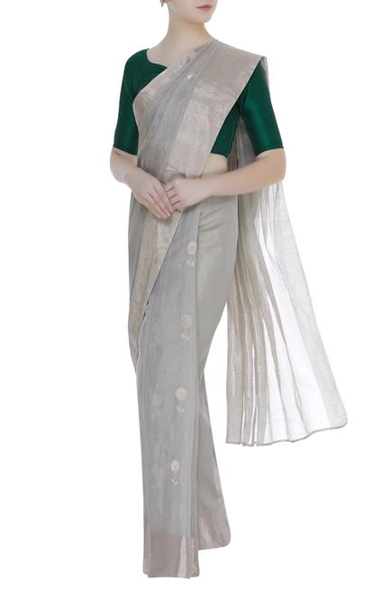 Zari lotus motif chanderi saree