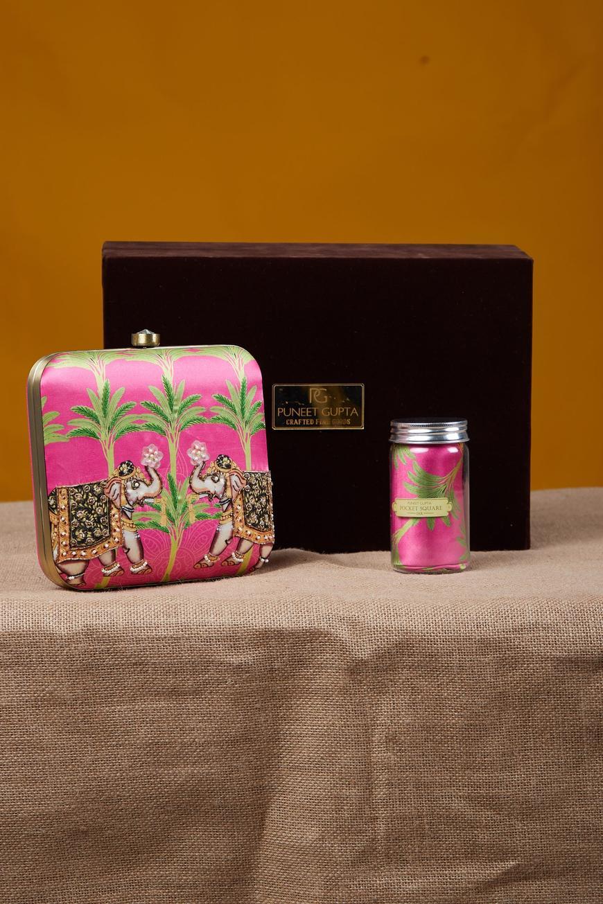 Zardozi Elephant Clutch & Pocket Square Gift Box