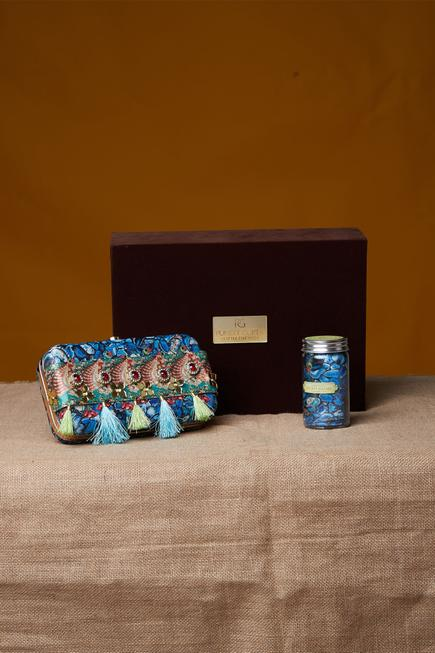 Jewel print clutch & pocket square with gift box