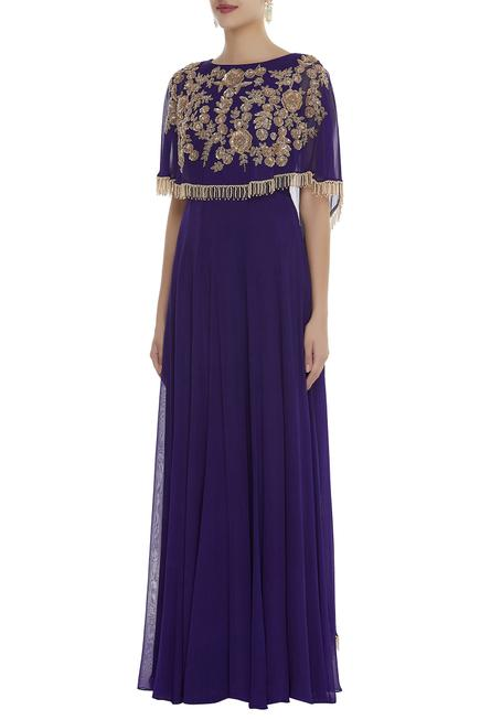 Layered gown with embroidered cape
