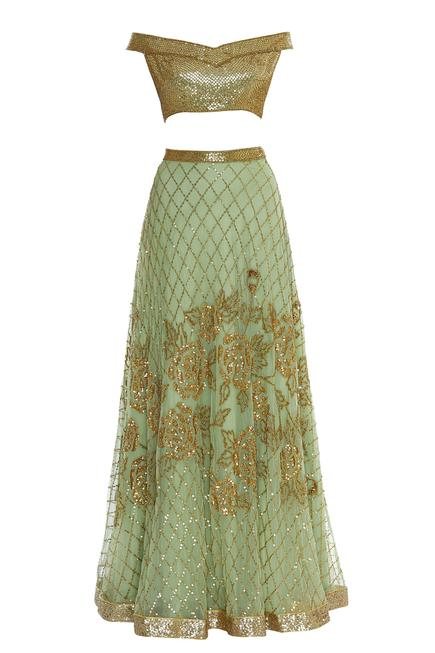 Off-shoulder sequin embroidered blouse with lehenga & dupatta
