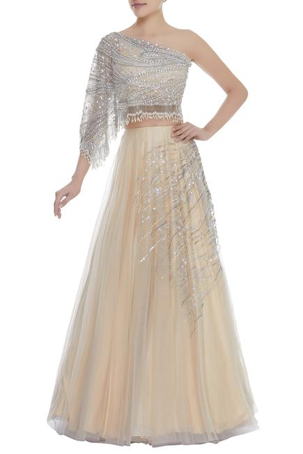 One Shoulder Buggle Bead & Pearl Fringe Blouse Lehenga Set