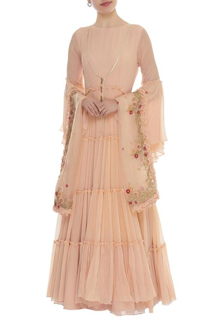Sequin Embroidered Anarkali With Jacket