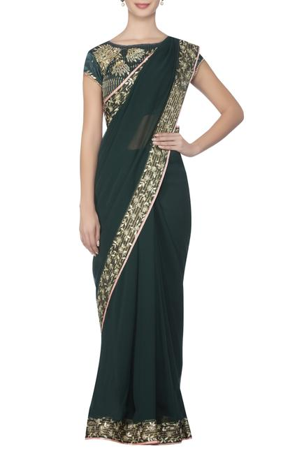 Border embroidered saree with embellished blouse
