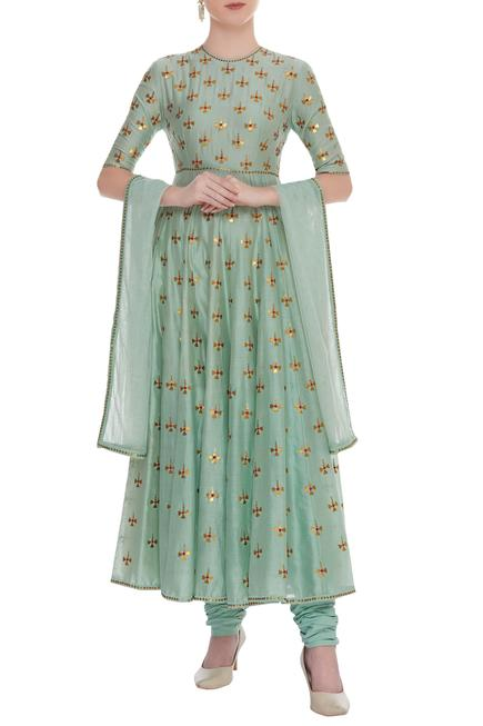Embroidered Anarkali With Dupatta & Churidaar
