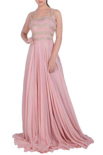 Embroidered Halter Neck Gown