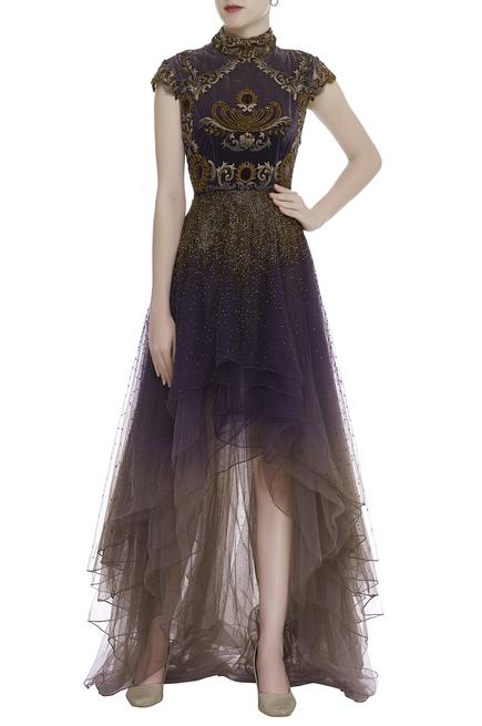 Embroidered Asymmetric Gown
