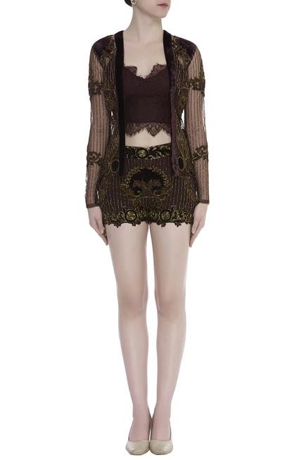 Embroidered shorts & top with jacket