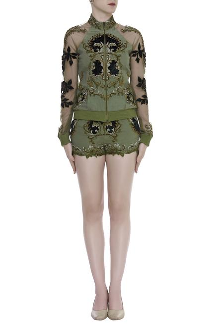 Embroidered Jacket with Shorts