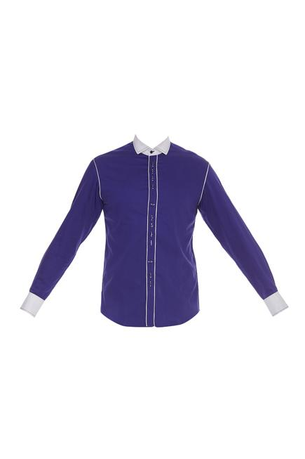 Cotton shirt with button placket