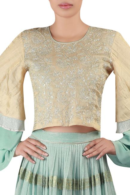 Embroidered Bell sleeves blouse with lehenga