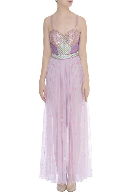 Embellished jumpsuit with gathered skirt