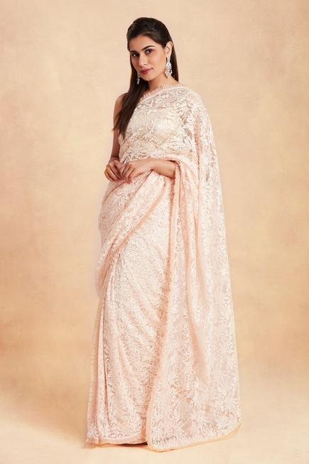 Lace Saree with Unstitched Blouse Fabric