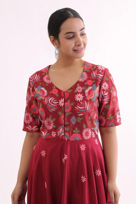 Pure Chanderi Embroidered Anarkali Gown