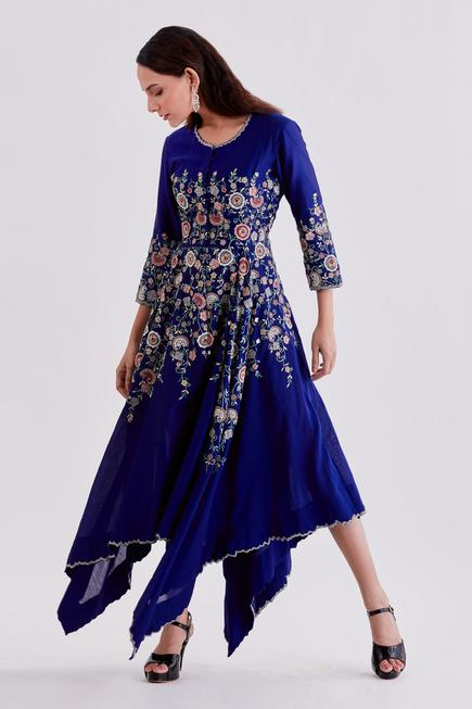 Pure Chanderi Embroidered Asymmetric Dress