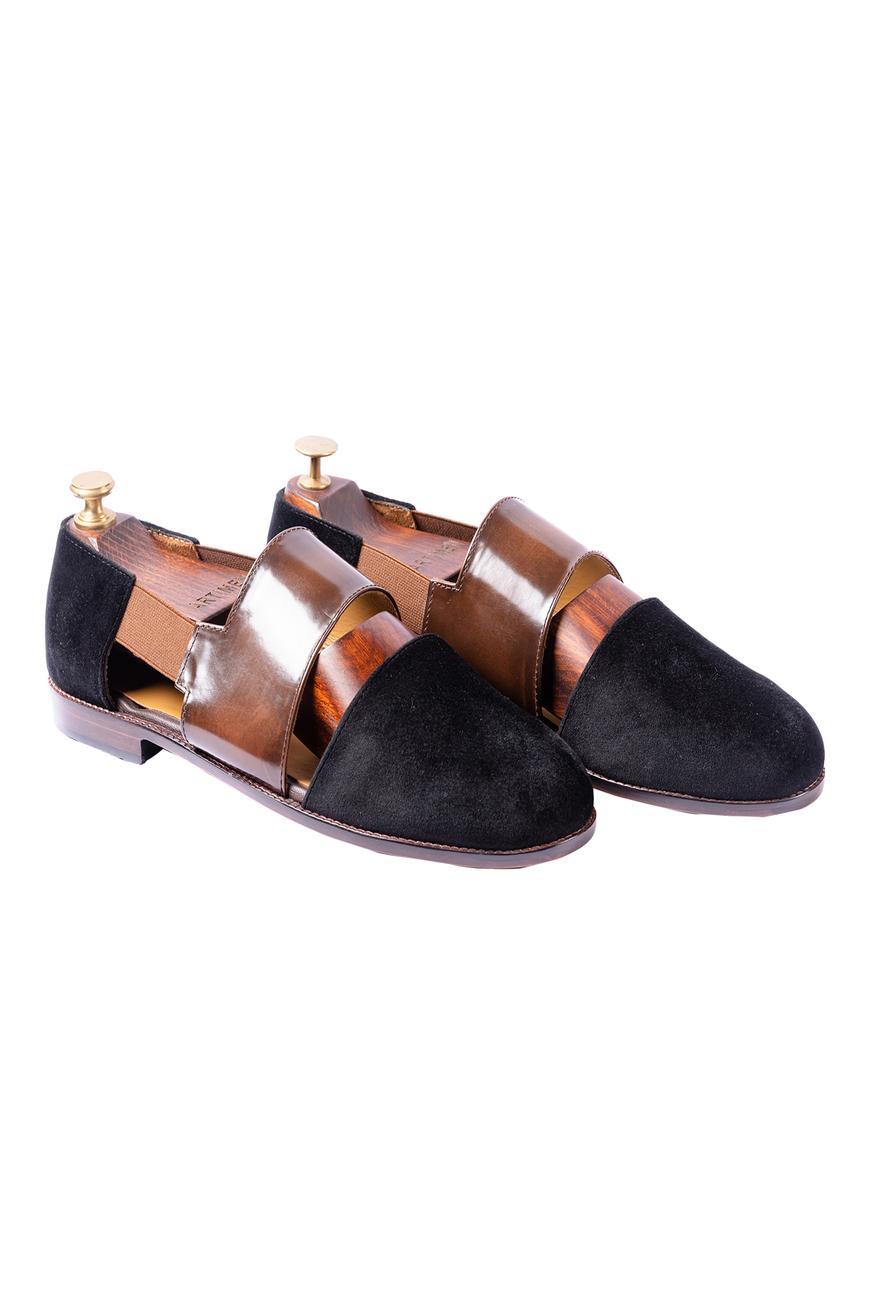 Velvet Cutout Sandals