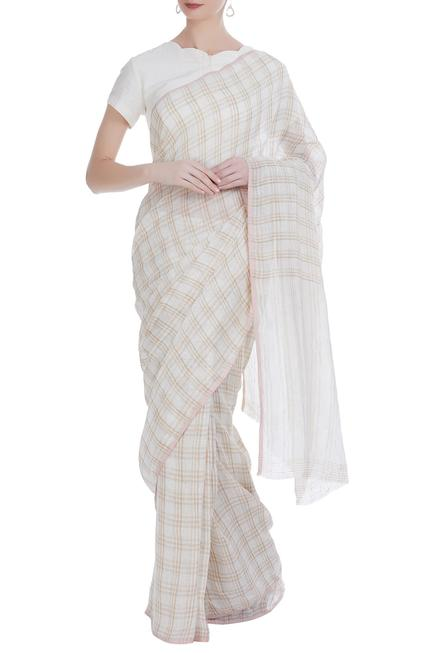Hand woven linen saree with checkered detail