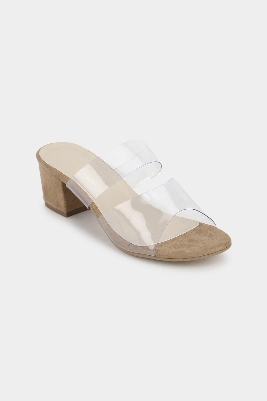 Clear Strap Block Heels