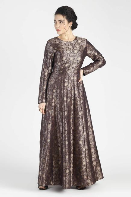 Silk Jacquard Anarkali Gown