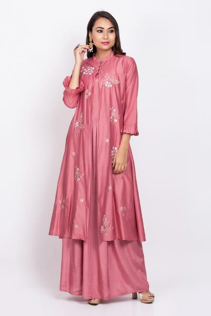 Chanderi Embroidered Dress with Jacket