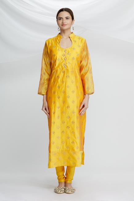 Chanderi Silk Printed Kurta Set