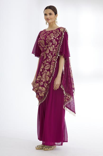 Embroidered Pant Saree with Top