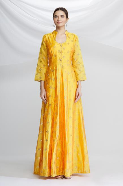 Chanderi Silk Printed Anarkali Set