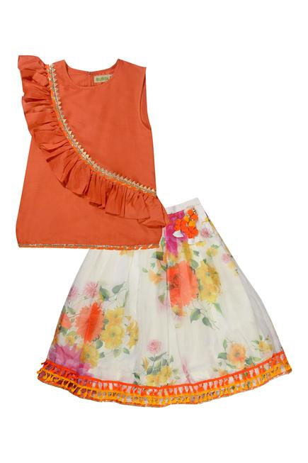 Printed Silk Lehenga Set