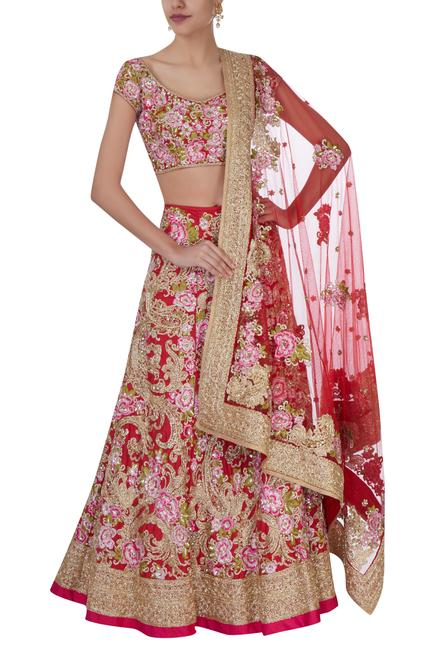 Red & pink floral bridal lehenga set