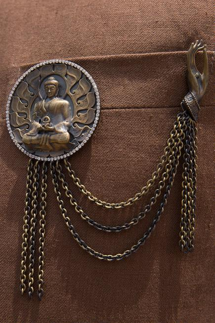 Buddha Myth Cufflink, Brooch & Lapel Pin Set