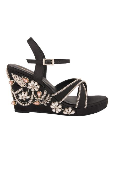 Ankle Strap Embroidered Wedges