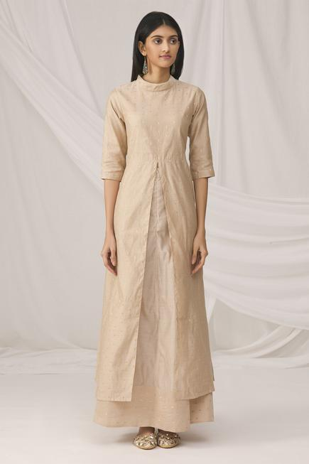 Chanderi Kurta Skirt Set