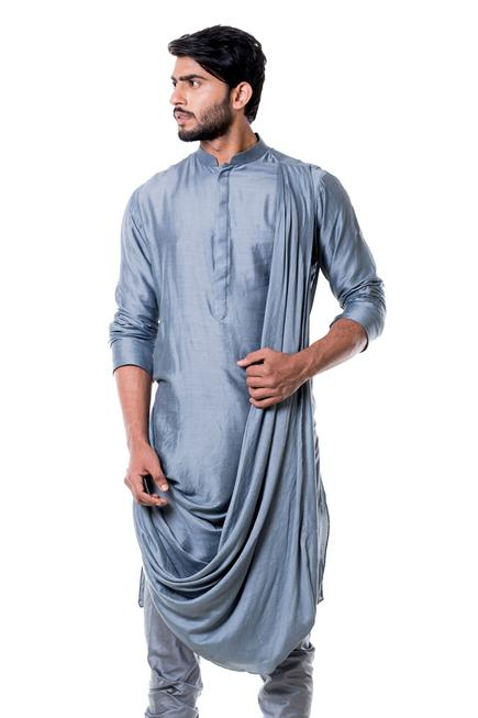 Silk Draped Kurta Set