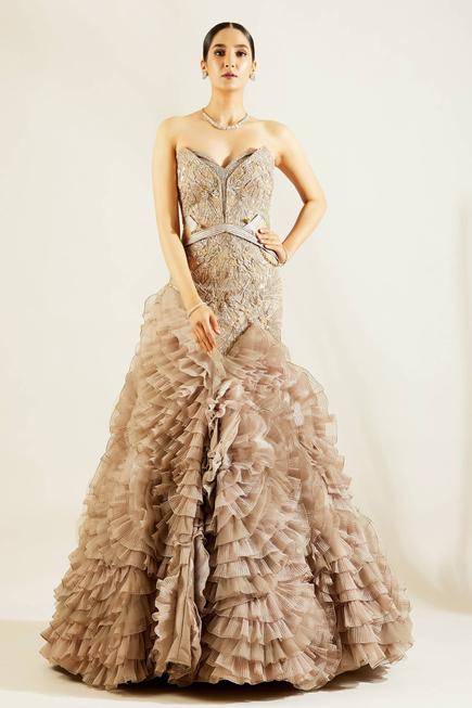 Organza Embellished Gown