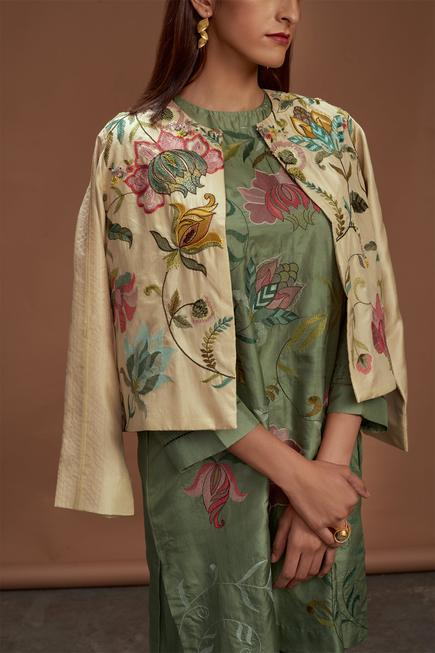 Pure Silk Embroidered Jacket