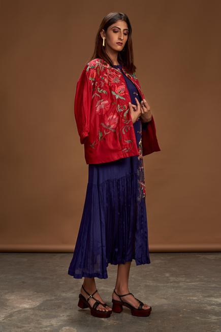 Pure Silk Embroidered Bomber Jacket