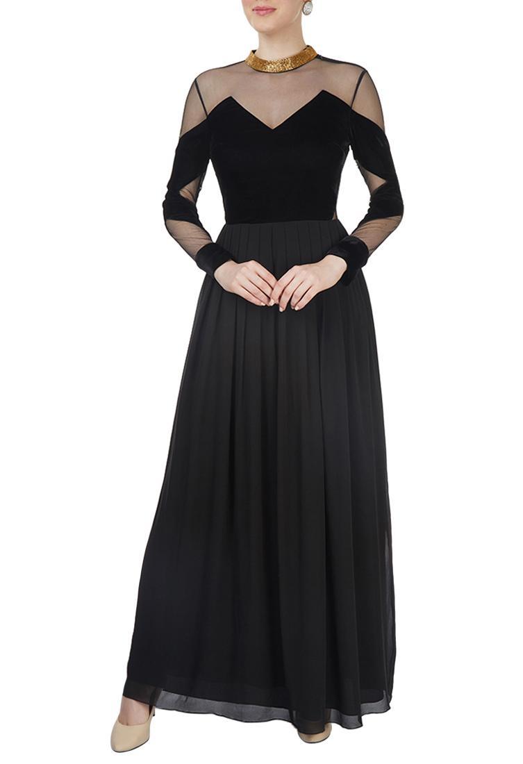 Black velvet peekaboo gown