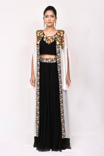 Embroidered Cape & Skirt Set