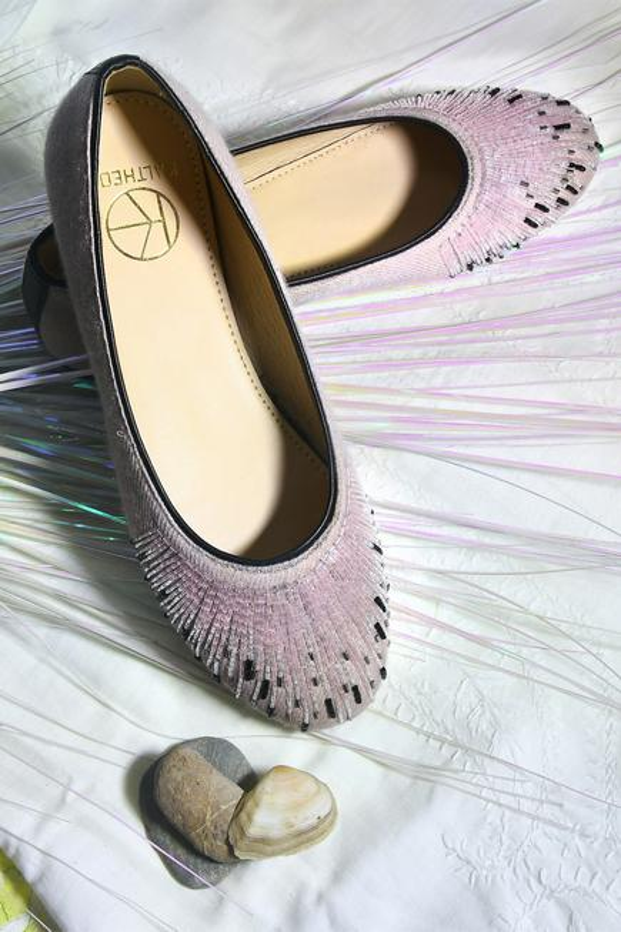 Rosy Bead Embellished Ballerina