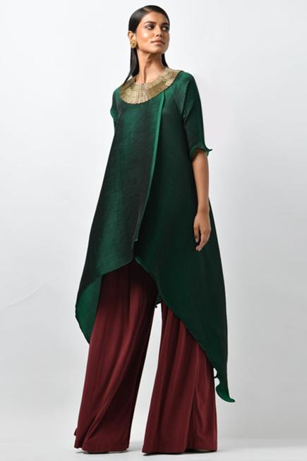 Pleated  Embroidered Tunic