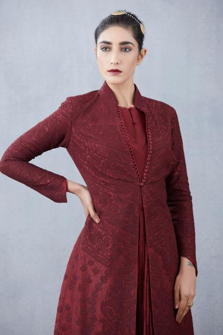 Handwoven Chanderi Jacquard Long Jacket