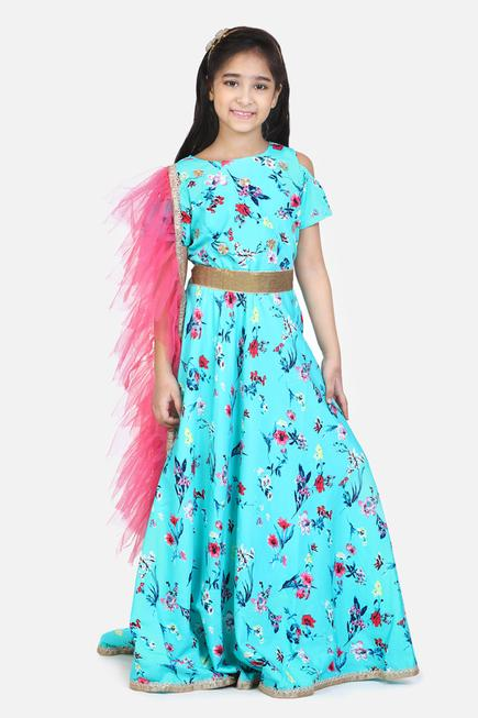 Printed Cold Shoulder Gown