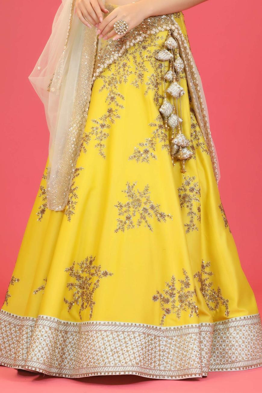 Chanderi Embroidered Lehenga Set