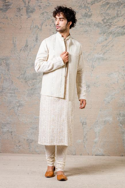 Embroidered Bundi & Kurta Set